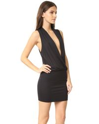 Lanston - Black Surplice Mini Dress - Lyst