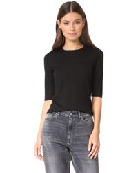 TSE | Black Elbow Sleeve Crew Sweater | Lyst
