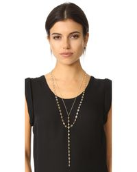 Serefina - Metallic Layered Y Necklace - Lyst