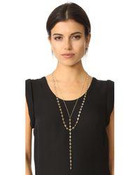Serefina | Metallic Layered Y Necklace | Lyst