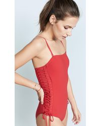 Zimmermann - Red Castile Lace Up One Piece Swimsuit - Lyst