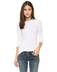 ATM - White Long Sleeve Micromodal Crew Neck Tee - Lyst