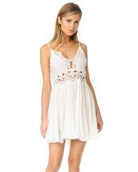 Free People | White Ilektra Mini Dress | Lyst