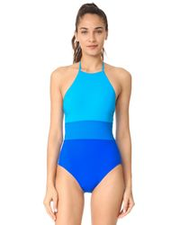 Diane von Furstenberg | Blue Colorblock One Piece | Lyst
