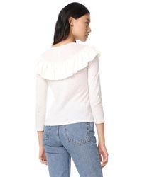 La Vie Rebecca Taylor Multicolor Long Sleeve Silk Ruffle Top
