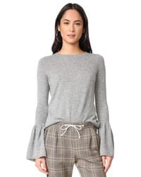 Autumn Cashmere - Gray Cashmere Sweater With Ruffle Cuffs - Lyst