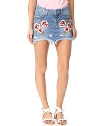 Free People - Blue Wild Rose Embroidered Miniskirt - Lyst