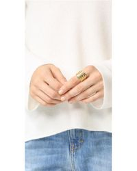 Soave Oro - Metallic Ribbed Graduated Ring - Lyst