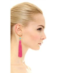 Kenneth Jay Lane - Red Bead & Tassel Earrings - Lyst