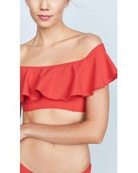 Lisa Marie Fernandez - Red Mira Crepe Flounce Bikini - Lyst