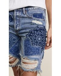 Free People - Blue Heart Breaker Patched & Embroidered Shorts - Lyst