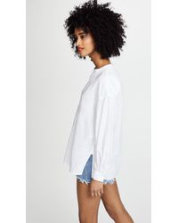 Vince - White Shirred Blouse - Lyst