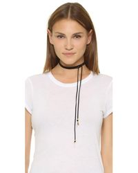 Vanessa Mooney - Metallic Suede Wrap Necklace With Spikes - Lyst