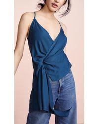 Michelle Mason - Blue Draped Cami Top - Lyst