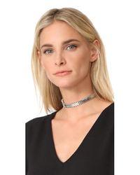 Rebecca Minkoff - Metallic Chevron Stretch Choker Necklace - Lyst
