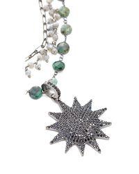 Ela Rae - Multicolor Three Layer Emerald Coin Necklace - Lyst