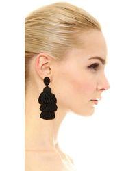 Oscar de la Renta | Black Long Silk Tiered Tassel Clip On Earrings | Lyst
