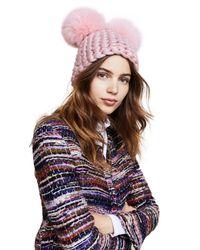 Mischa Lampert - Pink Double Pom Beanie Hat - Lyst