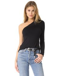 Riller & Fount - Black Kip One Shoulder Top - Lyst