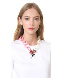 Marni - Pink Resin Necklace With Flower - Lyst