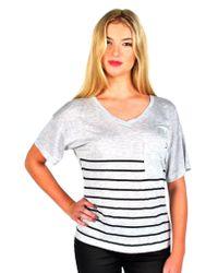 Zoe Karssen | Gray Stripe Loose Fit V-neck Tee In Grey Heather/pirate Black | Lyst