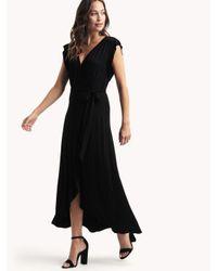 Ella Moss - Bella Flutter Surplice Dress - Black - Lyst