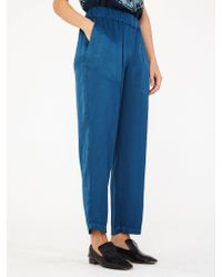 Raquel Allegra - Blue Ankle Pant In Peacock - Lyst