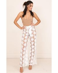 Showpo | Flying Free Pants In White Lace | Lyst