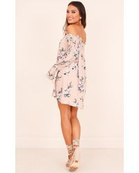 Showpo - Pink Look Of Love Dress In Blush Floral - Lyst