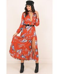 Showpo - Orange Rainforest Dreams Dress In Rust Floral - Lyst