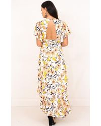 Showpo - Yellow Moments Like These Maxi Dress In White Floral - Lyst