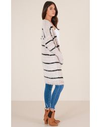 Showpo - Natural Straight Up Cardigan In Beige Stripe - Lyst