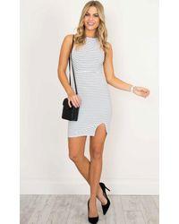 Showpo - Feel Alright Dress In White Stripe - Lyst