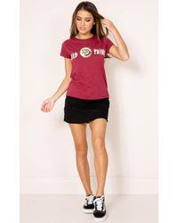 Showpo - Multicolor In The Wild T-shirt In Wine - Lyst