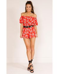 Showpo - Few Times Two Piece Set In Red Print - Lyst