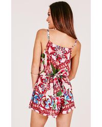 Showpo | Sweet Memories Playsuit In Red Floral | Lyst