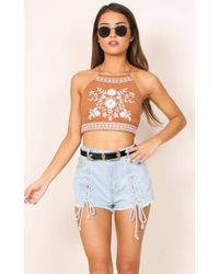 Showpo - Blue All Stars Denim Shorts In Light Wash - Lyst