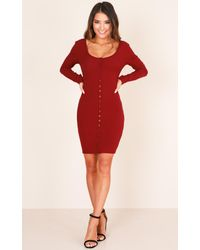 Showpo | Red Hold That Thought Dress In Wine | Lyst