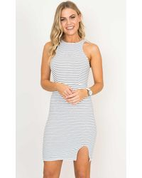 Showpo - Feel Alright Dress In White Stripe - Lyst