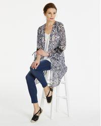 Simply Be - Multicolor Longline Kimono With Print Trim - Lyst