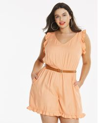 Simply Be - Multicolor Frill Playsuit - Lyst