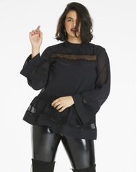 Simply Be - Black 3/4 Sleeve High Neck Blouse - Lyst