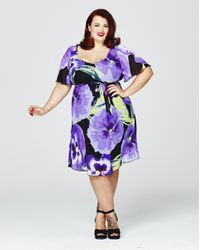 Simply Be - Purple Scarlett & Jo Print Kimono Dress - Lyst