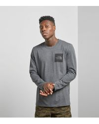 The North Face - Gray North Face Long Sleeved T-shirt for Men - Lyst