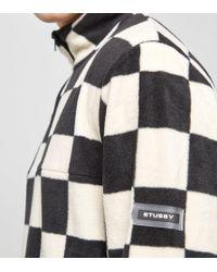 Stussy - Black Check Mock Sweatshirt for Men - Lyst