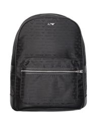 Armani Jeans All Over Logo Backpack in Black for Men - Lyst e5fa1427d635e