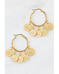 South Moon Under - Metallic Coin Hoop Earrings - Lyst