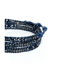South Moon Under - Blue Navy Mix Beaded Wrap Bracelet - Lyst