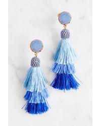 South Moon Under - Blue Tiered Tassel Drop Earrings - Lyst
