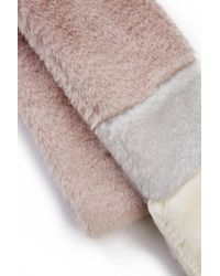 South Moon Under - Pink Color Blocked Faux Fur Skinny Scarf - Lyst